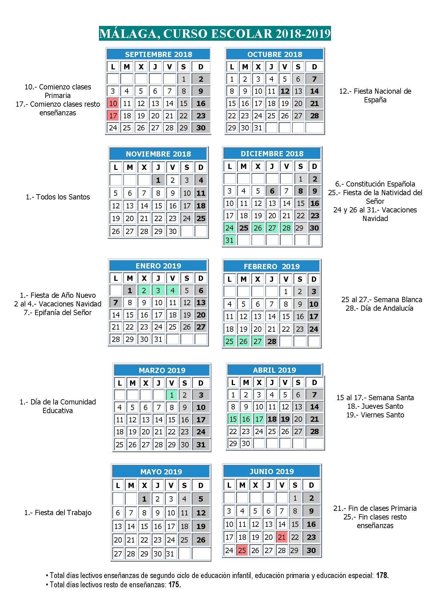 Calendario curso escolar 2018-19 Málaga