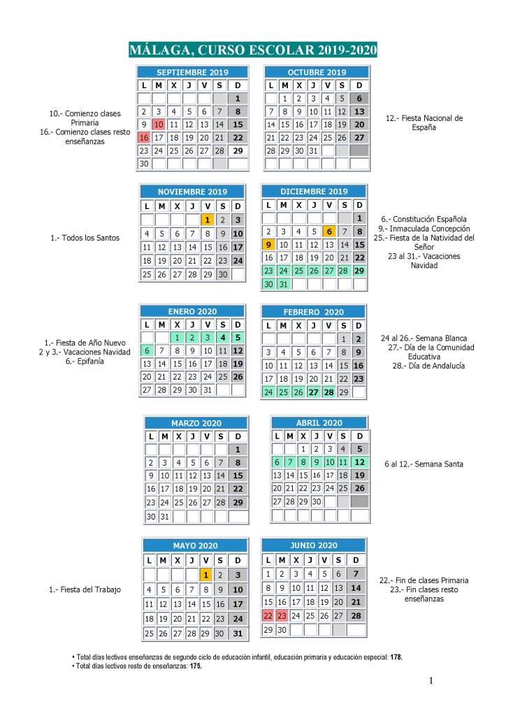 Calendario escolar Málaga Curso 2019-2020